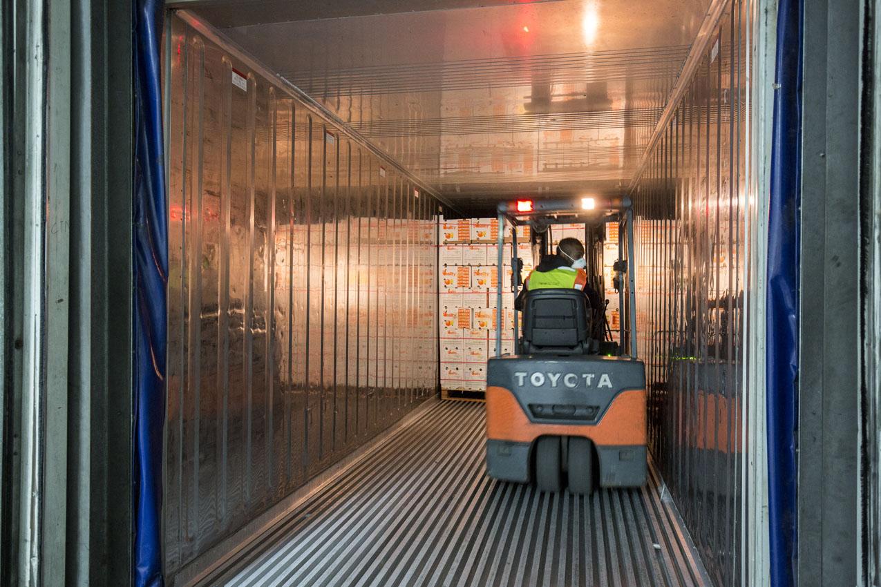 Forklift inside Reefer