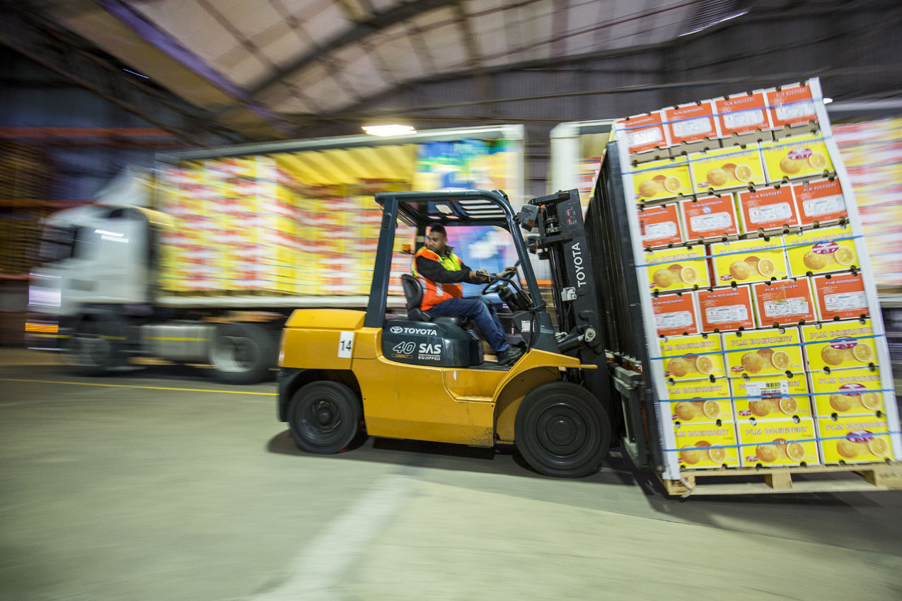 Forklift with crates